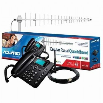 Kit Telefone De Mesa Rural Dual Chip Quadriband Aquario